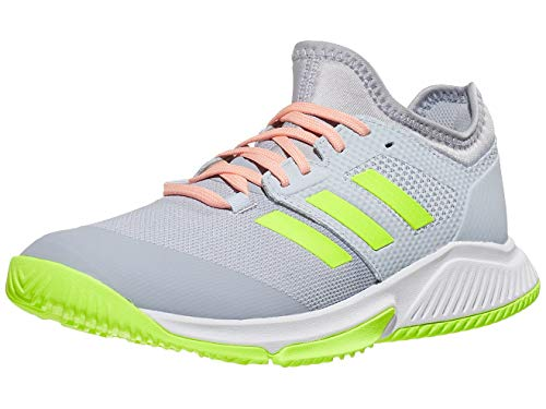 adidas Women's Court Team Bounce Volleyball Shoe, Halo Silver/Yellow/Halo Blue, 5