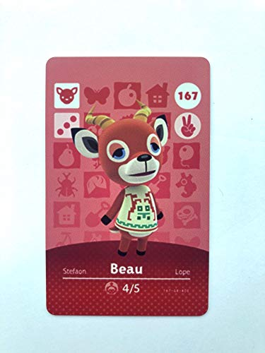 No.167 Beau Animal Crossing Villager Cards Series 2. Third Party NFC Card. Water Resistant