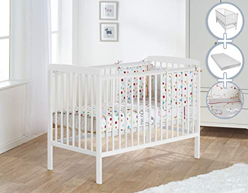 Kinder Valley Deluxe 4 Piece White Cot Baby Bundle White with Spring Mattress 120x60cm and Quilt and Bumper Set | Infant Bed
