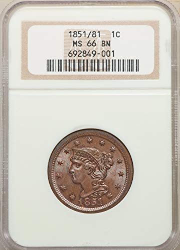 1851 Braided Hair Cent 1C MS66 NGC
