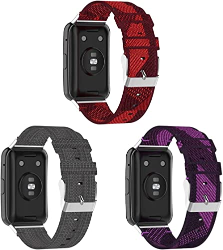 Correas para Relojes Nylon Compatible con Huawei Watch Fit/Huawei Fit, Correa de Reloj de NATO para Mujer y Hombre con Hebilla de Acero Inoxidable (3-Pack G)