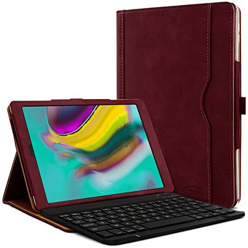 Karylax - Funda de protección y modo soporte horizontal, color burdeos con teclado francés Azerty Connection Bluetooth para tablet Samsung Galaxy Tab A7 10.4