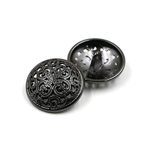 10PCS Kleidung Knopf - Retro Hollow Sewing Button Shank Runde Geformte Metall Button Set für Männer Frauen Blazer, Mantel, Uniform, Hemd, Anzug und Jacke (Schwarz, 15mm)