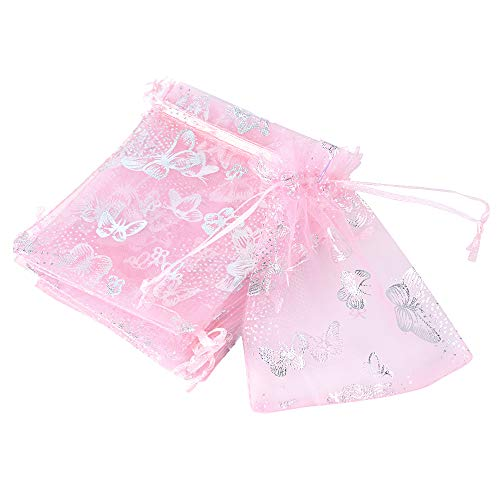 (9 * 12cm) 100pz Sacchetti Organza Bustine Buste Farfalle Sacchettini per Confetti Gioielli Matrimonio Comunione Battesimo Festa (Rosa)