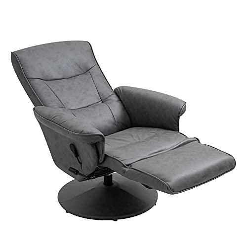 HOMCOM Swivel Recliner Chair Armchair Sofa with Footrest Padded Armrest 4-level Adjustable Backrest, Microfiber, Dark Grey
