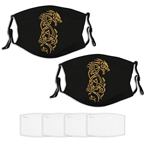 2 Piece Face Mask Set Plus 4 Replaceable Air Filters Viking Symbol - Fenrir Wolf Norse Mythology Washable Reusable Adjustable Black Cloth Bandanas Scarf Neck Gaiters for Adults Men Women Kids