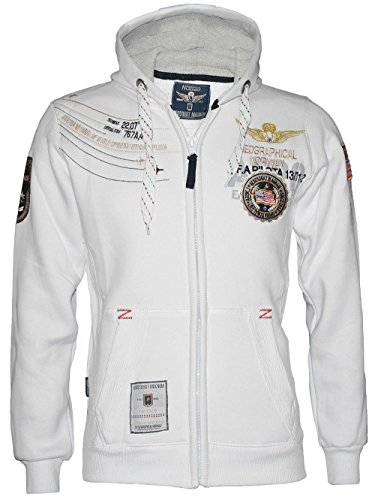 Geographical Norway Herren Kapuzen Hoodie Sweatshirt Jacke *Aerosquat Magnum* in Weiss WK321