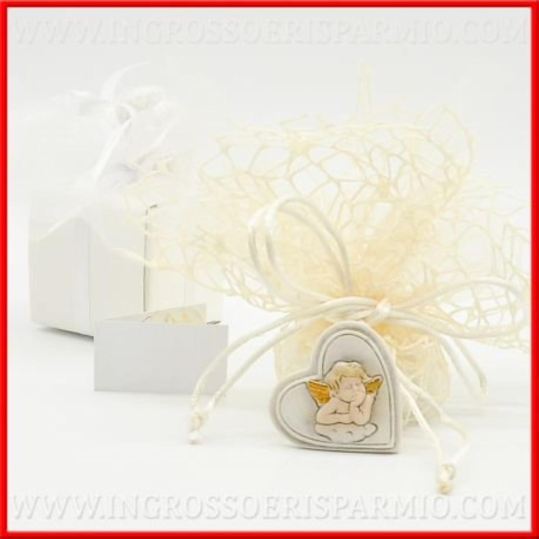 Herz aus Harz Binaca mit dem Zentrum ein Schutzengel Glücksbringer mit Goldenen Flügeln auf eine Wolke wei–Gastgeschenk Kommunion, Taufe, Geburt kit 48 pz. rot in scatola