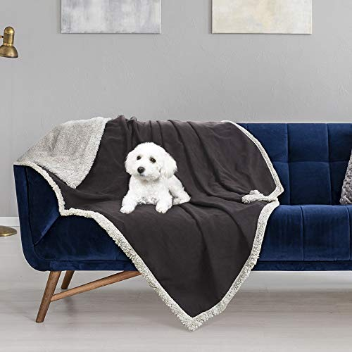 """Waterproof Dog Blanket,Pet Pee Proof Couch Cover for Bed Sofa Car Seat,Reversible Furniture Protector Sherpa Throws Cushion Mat for Small Medium Large Dogs Puppy Cat 60""""x50"""""""