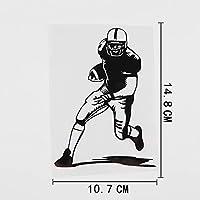 車のステッカーの装飾 10.7CMX14.8CMアメリカンフットボール選手のスポーツジムビニールカーステッカーブラック/シルバー (Color Name : Black)