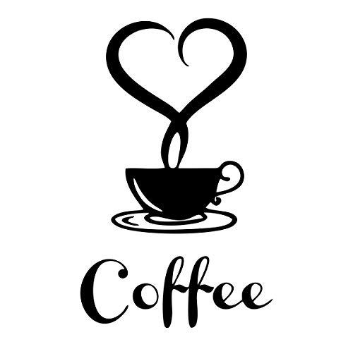 Adhesivo de café y corazón – Apto para ventanas, paredes, cristales, muebles, coche, cocina, Coffe Love – Wall Stickers pared dormitorio – Decoración pared dormitorio – Negro 25 x 18 cm