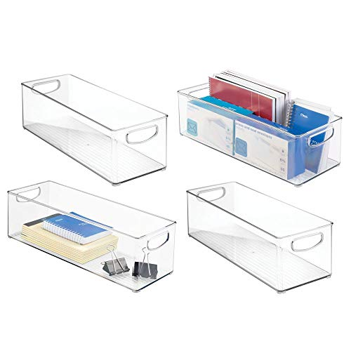 mDesign Large Stackable Plastic Storage Bin Container, Home Office Desk and Drawer Organizer Tote with Handles - Holds Gel Pens, Erasers, Tape, Pens, Pencils, Markers - 16' Long, 4 Pack - Clear