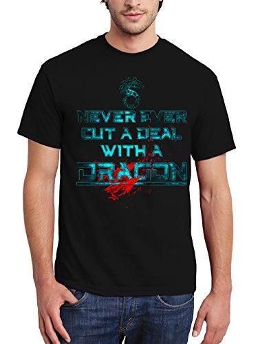 clothinx Herren T-Shirt Shadowrun Never Ever Cut A Deal with A Dragon Schwarz Gr. XXL