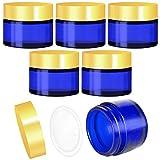 6 PCS Frascos de Vidrio Redondos con Forros Interiores Tarros Vacíos para Cosméticos Cremas Lociones (Azul)