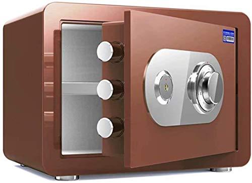 Kluis Safe huishouden mechanische sloten + sleutelslot, hoge veiligheid staal Vault anti-diefstal vuur- en waterdicht elektronische meubelkluis (kleur: bruin, maat: 38x30x30cm)