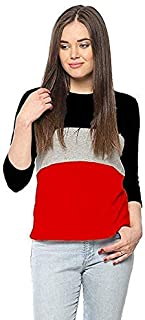 Ytrick Women Multicolor Round Neck Cotton Tshirts Red
