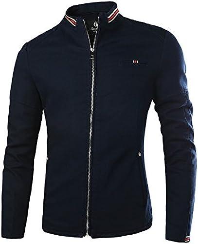 Fjubjv la Veste de la Mode pour Hommes en Coton Occasionnels Veste au col Hommes Eau de Lavage,Bleu,4XL