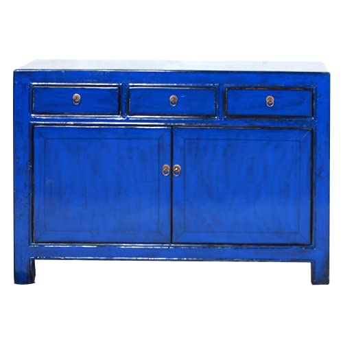 Fine Asianliving Aparador chino antiguo azul marino brillante W130xD39xH91cm aparador cómoda de cajones inspirado en Ming muebles chinos orientales de madera pintada a mano asiática 130x91x39cm