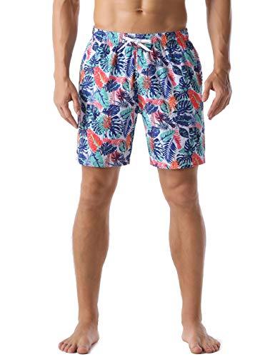 Nonwe Herren-Badeshorts, bunte Blätter, bedruckt, Sommer, Urlaub, schnelltrocknend, Board-Shorts, blau, 32
