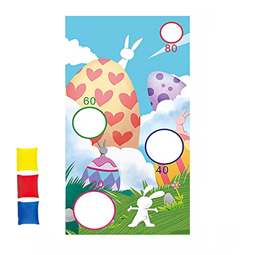 Easter Throwing Game, Easter Sandbag Throwing Flag with 3 pcs Bean Bag, Fun Easter Game for Children and Adults in Easter Party Activities, 130 x 70cm,C