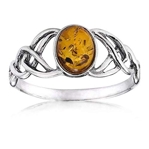 Amber Sterling Silver Oval Celtic Knots Ring