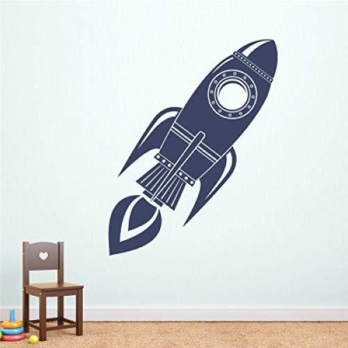 JXFM Etiqueta de la Pared del Cohete Silueta Arte Mural niño Dormitorio Vinilo Espacio Fondo de Pantalla 42x121cm