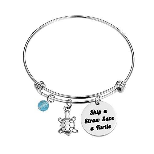 BNQL Skip A Straw Save A Turtle Bracelet Environmental Awareness Earth Gift Turtle Lover Gift (Bracelet S)
