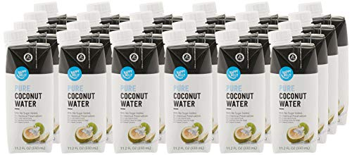 Amazon Brand - Happy Belly Coconut Water, 11.2 Fl oz (Pack of 24)