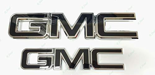 Cibo 2pcs Black Chrome Grille Tailgate Emblem Fit for 2015-19 Sierra 1500 2500HD 3500HD
