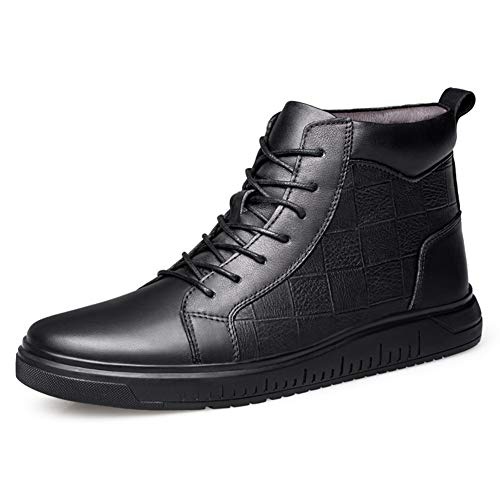 Comfortabel en ontspannen Fashion Sneakers for Men Casual Skater Sport Schoenen Met Rasterpatroon High Top Lace Up echt leder Non-slip (fleece aan de binnenkant Option) hjm