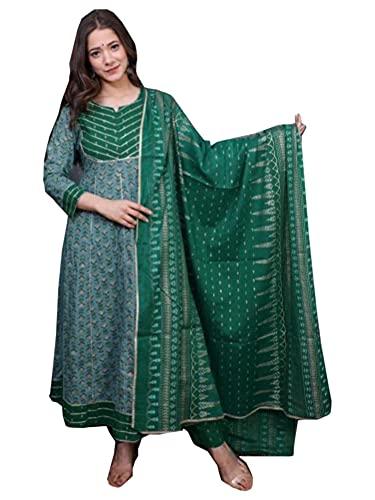 Anarkali Gota Patti Kurti mit Hose, bedruckt, indisch, ethnisch, grün, Baumwolle, bedruckt, Dupatta, Damen, Kurta, Anzug-Set 496j, siehe...