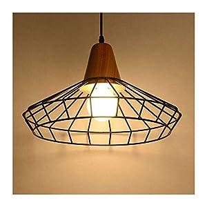 CWC Lámpara de Hierro Forjado Estilo Creativo Retro de la lámpara Colgante de Madera Hierro Negro Sombra de la lámpara Pendiente de la Jaula Decoración Patio del LED Luces Pendientes