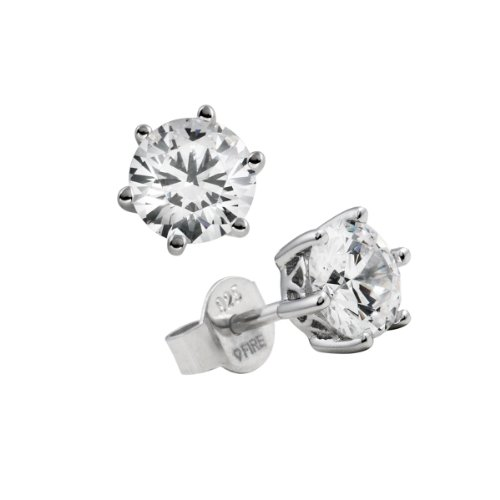 Diamonfire Damen-Ohrstecker 925 Sterling Silber Zirkonia Carats Linie weiß 62/1265/1/082