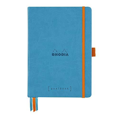 Rhodia 118777C - Quaderno rigido Goalbook formato A5, 14,8 x 21 cm, con puntini, 240 pagine, carta Clairefontaine, avorio 90 g/m², 3 nastri elastici in finta pelle, colore: Turchese