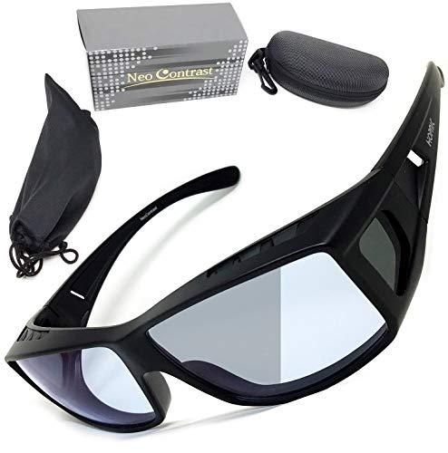 昼夜兼用 ネオコントラスト シェード (UVで色が濃くなる) 調光レンズ UV99.99%カット ナイトドライブ オーバーグラス も可 夜間 運転 サングラス 福井県 鯖江産 ホプニック研究所 SC50
