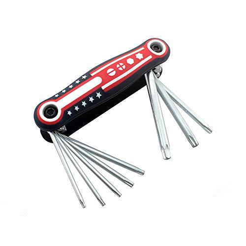 Folding Torx Key Set - CR-V Star Key set (8 in 1) - Sizes Include T9 T10 T15 T20 T25 T27 T30 T40
