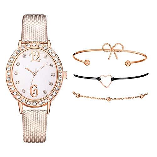 JZDH Relojes para Mujer Relojes De Mujer De Esfera Oval 4pcs Set Snakes Skin Pattern Cuero Wristwatch Diamond Ladies Bowknot Heartshape Pulsera Reloj Relojes Decorativos Casuales para Niñas Damas