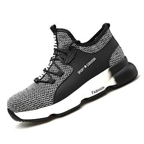 Zapatos de Seguridad Hombre Mujer Zapatillas de Trabajo con Punta de Acero Ligeros Calzado de Industrial y Deportivos Transpirables Anti-Piercing Zapatos de Trabajo 48