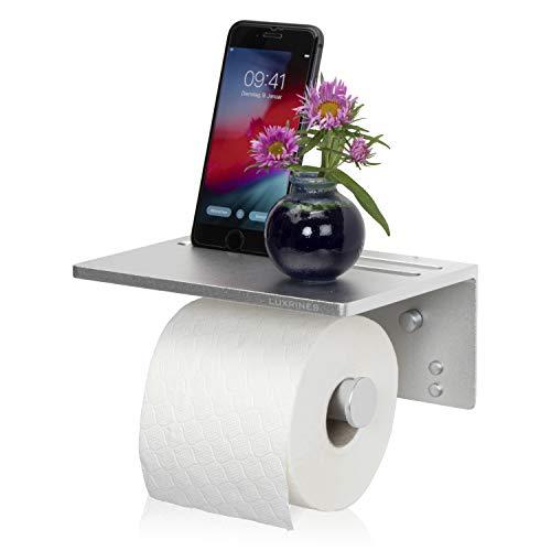Toilettenpapierhalter mit Ablage, ohne oder mit Bohren, Selbstklebender Kleber, Aluminium, Wandmontage (Silber)