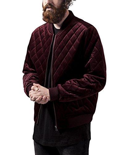 Urban Classics Herren Diamond Quilt Velvet Jacket Jacke, Rot (Burgundy 606), Large (Herstellergröße: L)