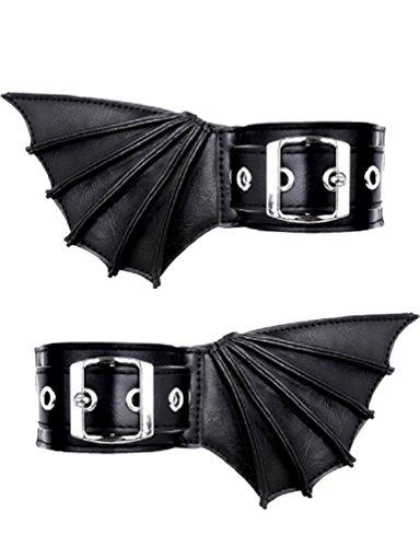 Brazaletes Góticos de Restyle con Alas de Murciélago de Cuero Sintético Vegano Para los Codos NuGótico Vampiro