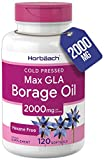 Borage Oil Capsules 2000 mg | 120 Softgels | 380mg of GLA | Cold Pressed Seed Oil Supplement | by Horbaach
