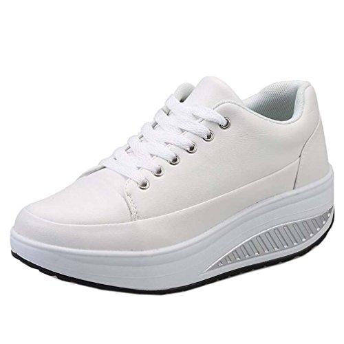 Solshine Damen Einfach Schnürer mit Keilabsatz Plateau Sportschuhe Sneaker Freizeitschuhe weiß 39 EU / 5 UK / 7 US