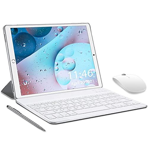 5G Tablet 10,1 Zoll, Tablets Android 10.0, 2 in1 Tablet mit Tastatur 4 GB RAM und 64 GB ROM, Touch 6000mAh Akku, Quad-Core-Prozessor, Dual WiFi, Bluetooth (Silber)