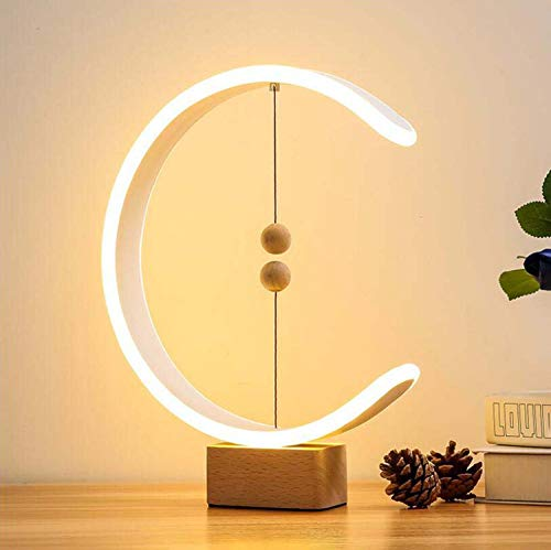 Lampe De Balance Heng Avec Base En Bois Lampe De Table LED En Forme De C, Lampe De Bureau À Suspension Magnétique Intelligente Avec USB, Veilleuse LED Pour Lampe De Chevet De Dortoir De Bureau