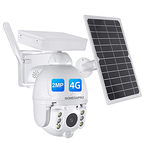 INQMEGAPRO 1080P Caméra Surveillance Solaire 4G Exterieure Caméra IP - sur Batterie 15000mAh-Détecteurs PIR Radar-Vision Nocturne en Couleur -Audio Bidirectionnel- IP66-Emplacement SD-blanche