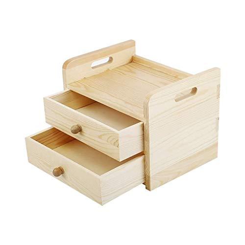 Joyería de Madera Caja de Documentos Organización de época Home Magazine Holder Archivo de Moda de Dos Niveles de bambú Bandeja de Pino (19X26X20CM) Caja de Almacenamiento (Color : Wood)