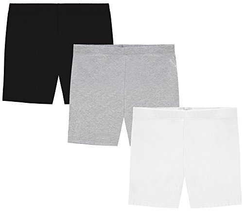 MY WAY Girls' Value Pack Solid Cotton Bike Shorts - Black, Heather Grey, and White - 10