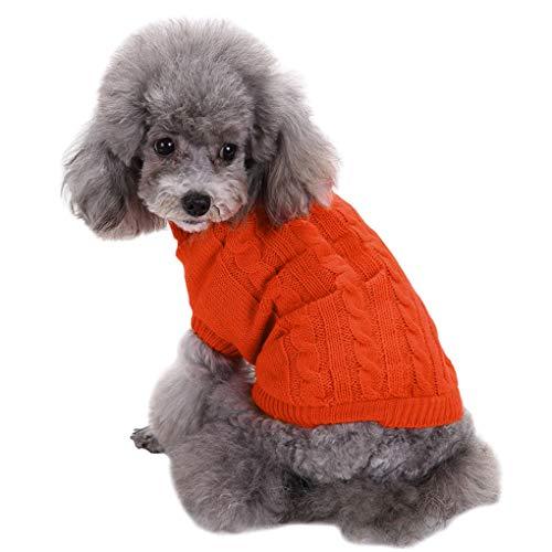 CHBORCHICEN Small Dog Sweaters Knitted Pet Cat Sweater Warm Dog Sweatshirt Dog Winter Clothes Kitten Puppy Sweater (X-Small, Orange)