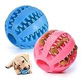 Pelota para Perros,Bola de Limpieza de Dientes Juguetes para Perros Mascotas Pelota de Goma Elástica,Bolas Juguetes Interactivos para Morder Perro (Rosa & Azul Oscuro)